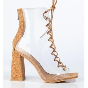 Clear Chunky Heel Peep Toe Lace Up Booties in Cork